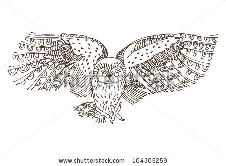 Flying Owl Bird Tattoo Design