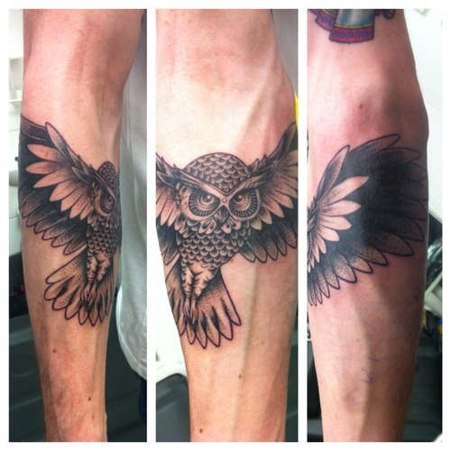 Flying Owl Forearm Tattoos
