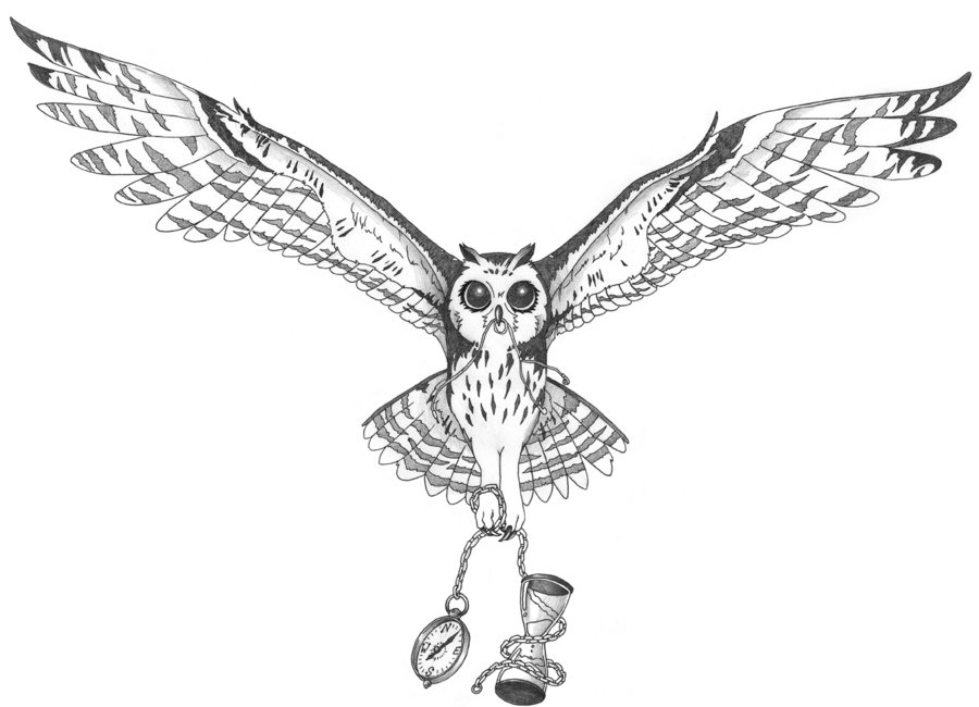 Flying Owl Tattoo Design