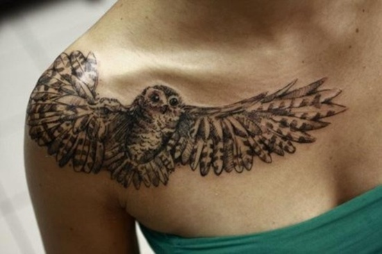 Flying Owl Tattoo On Right Front Shoulder