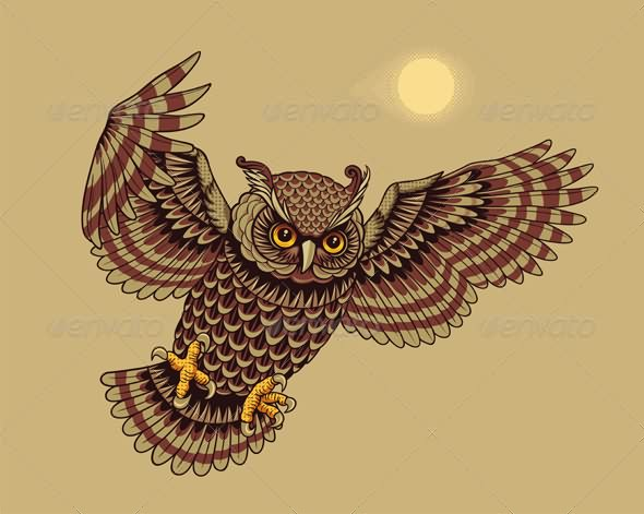 Flying Owl Tattoo Poster