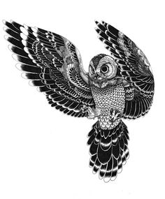 Flying Owl Tattoo Stencil