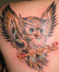 Flying Owl With Key Tattoo