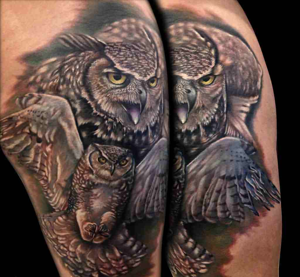 Flying Owls Tattoos