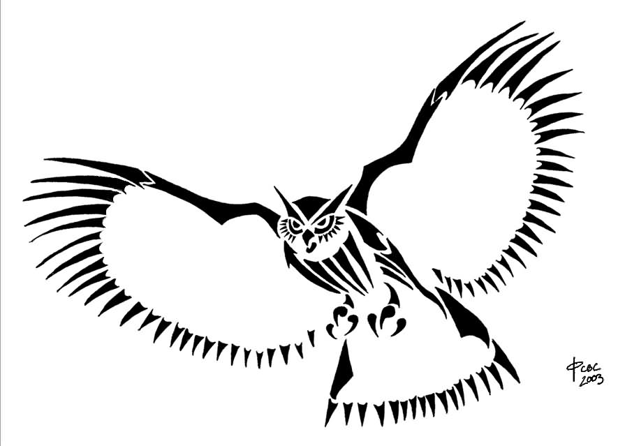 Flying Tribal Owl Tattoo Design