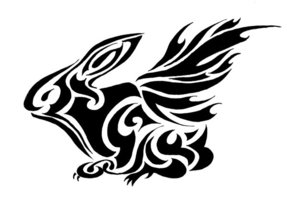 Flying Tribal Rabbit Tattoo Design