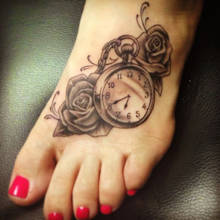 Foot with Rose Clock Time Tattoos
