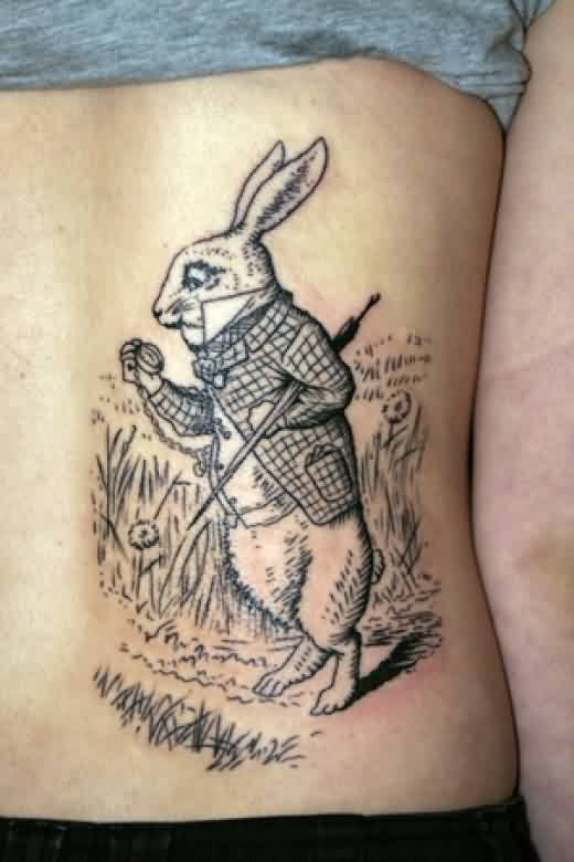 Forest White Rabbit Tattoo On Side Back