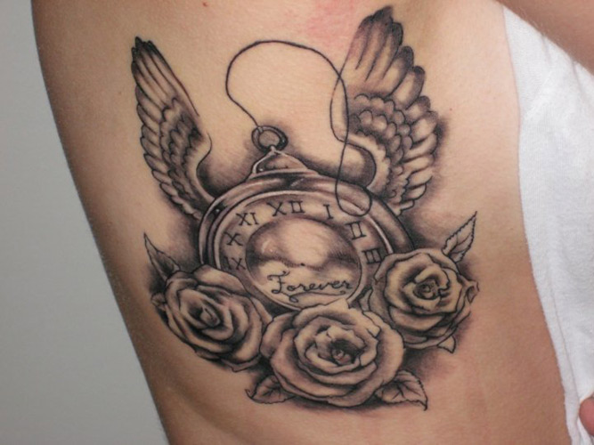 Forever Clock Tattoo With Roses
