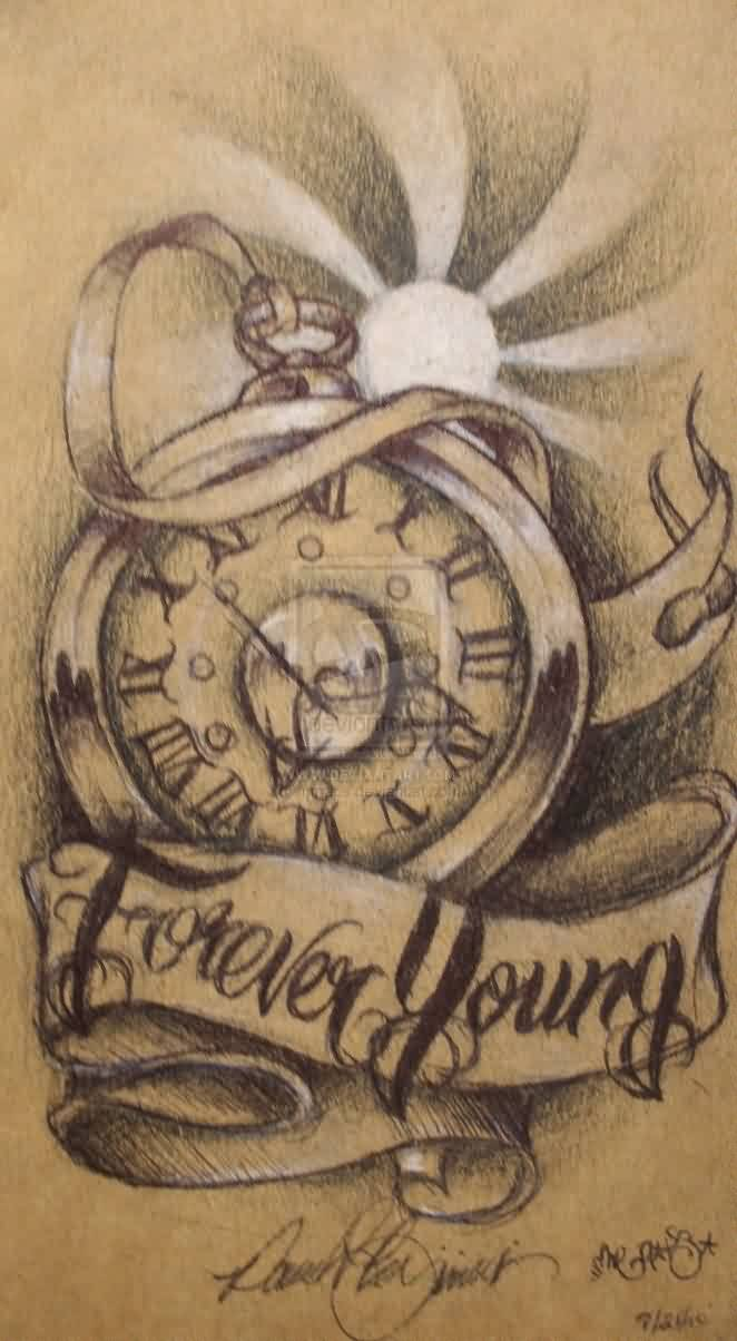 Forever Young Clock Tattoo Idea