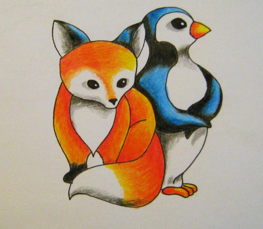 Fox And Penguin Tattoo Design