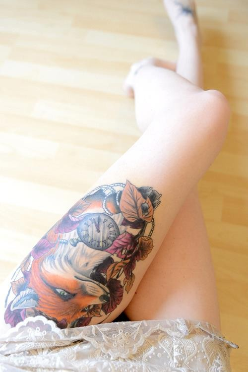 Fox Clock Leaf Tattoo On Left Thigh For Girls