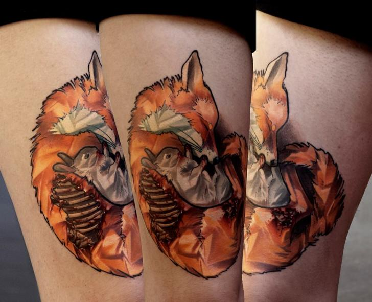 Fox Rabbit Tattoos On Thigh