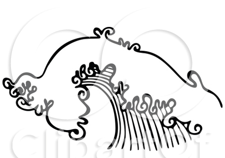 Free Black And White Ocean Wave Tattoo Design