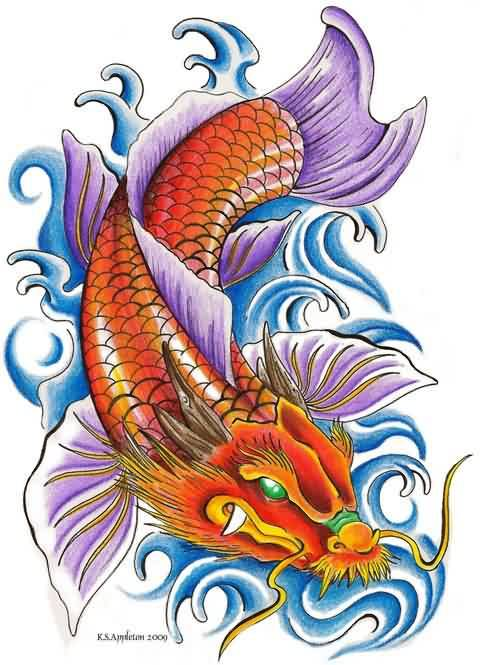 Free Koi Dragon And Waves Tattoo Design