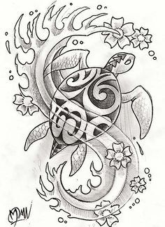 Free Polynesian Turtle And Waves Tattoos Sketch