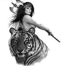 Free Tiger And Warrior Girl Tattoo Design
