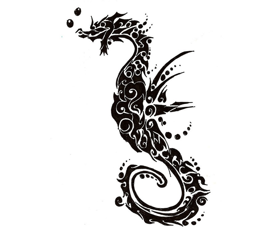 Free Tribal Seahorse Tattoo Wallpaper