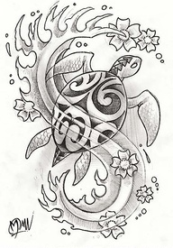 Free Turtle And Waves Tattoo Design