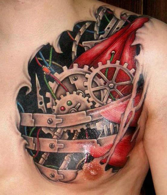 Fresh 3D Biomechanical Gears Tattoos On Chest