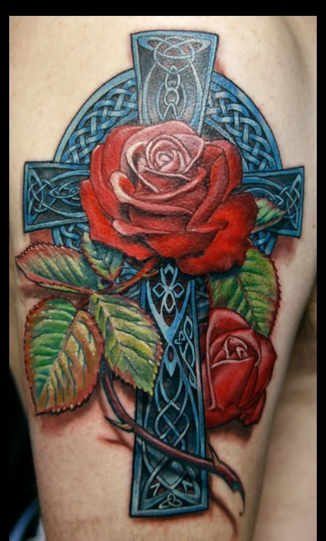 Fresh 3D Blue Celtic Cross And Red Rose Tattoos On Arm