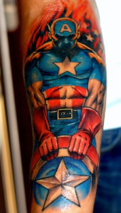 Fresh 3D Captain America Tattoo On Sleeve
