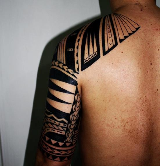 Fresh Black Ink Polynesian Half Sleeve Tattoo