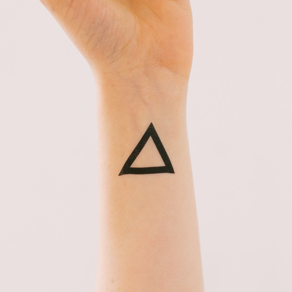 Fresh Black Outline Triangle Tattoo On Inner Wrist