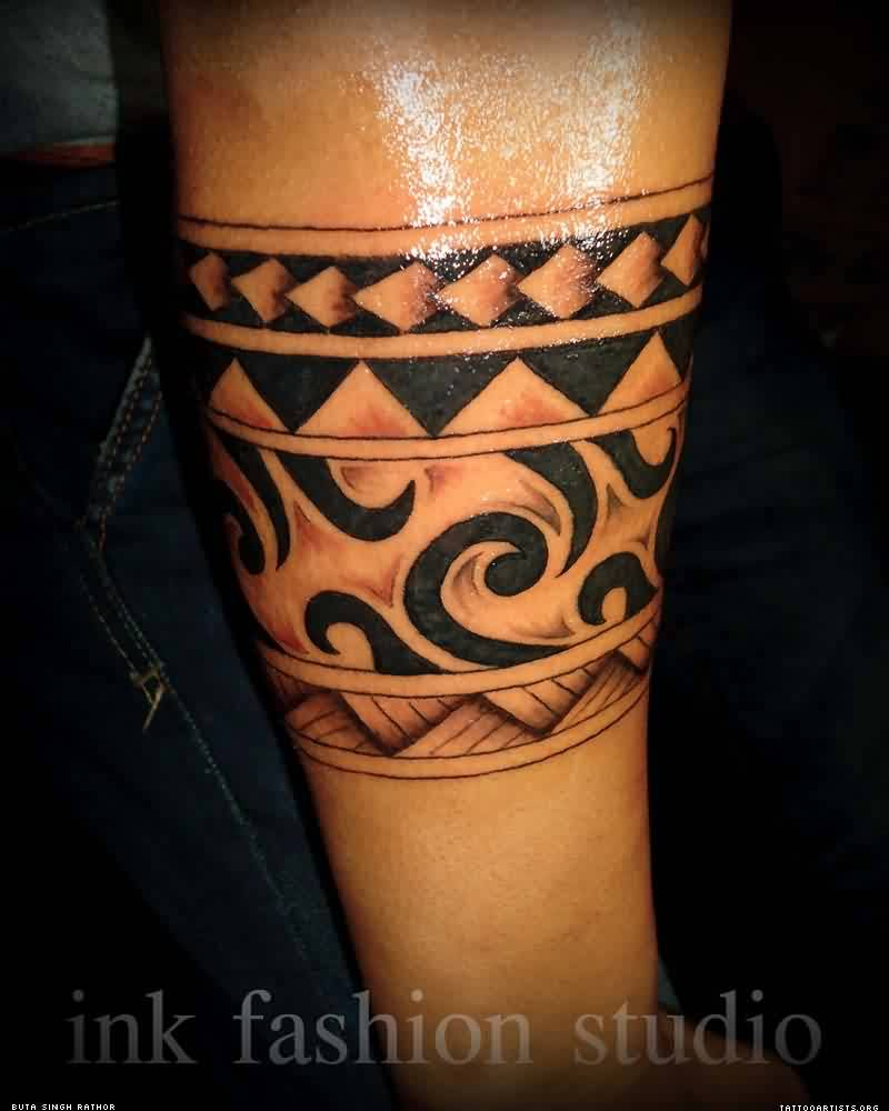 Fresh Black Polynesian Armband Tattoo