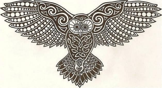 Fresh Celtic Owl Tattoo Poster
