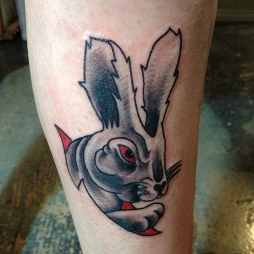 Fresh Grey Rabbit Head Tattoo