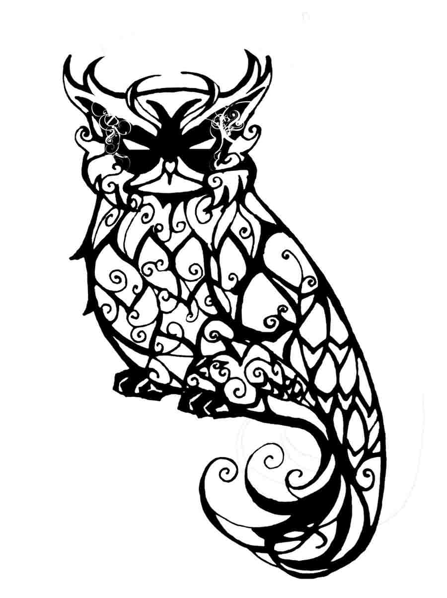 Fresh Horned Owl Tattoo Design