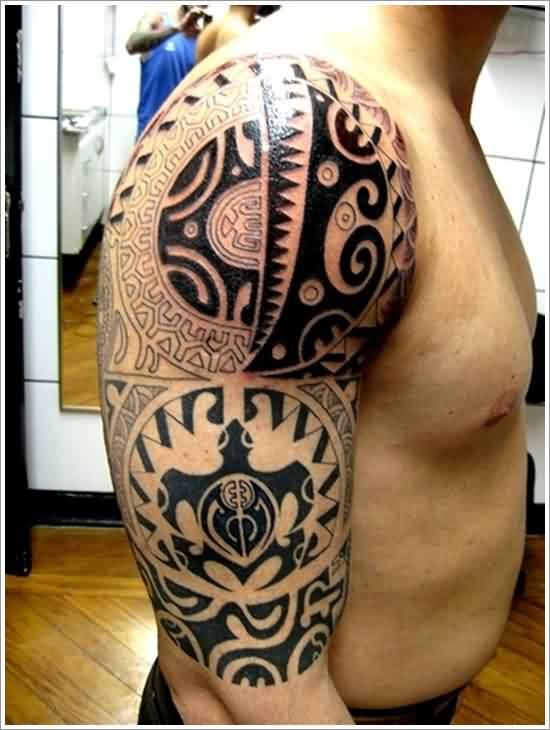 Fresh Maori Polynesian Tattoos On Half Sleeve