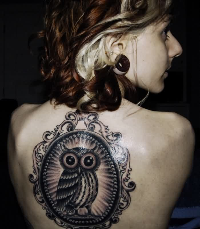 Fresh Owl Frame Tattoo On Upperback
