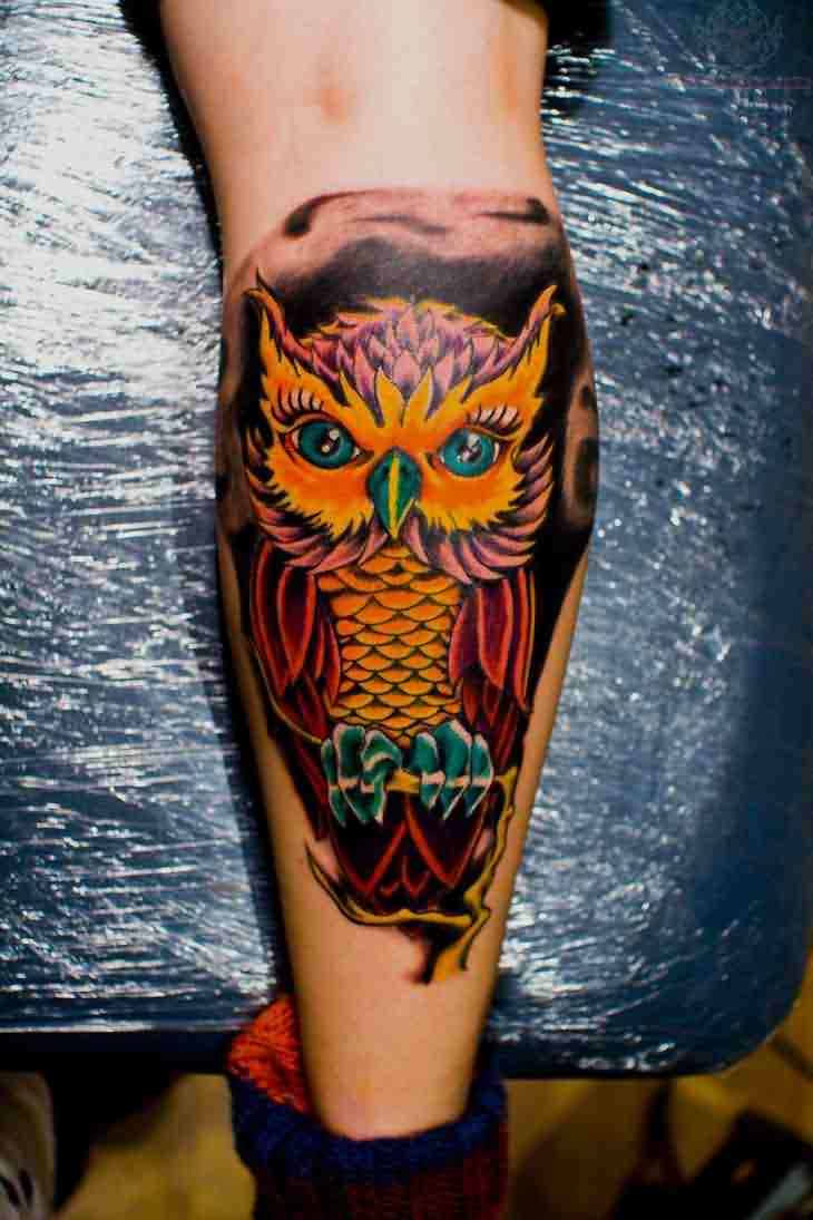 Fresh Owl Tattoo On Leg For Boys