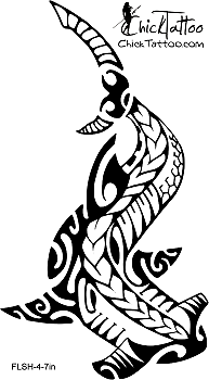 Fresh Polynesian Hammerhead Shark Tattoo Model