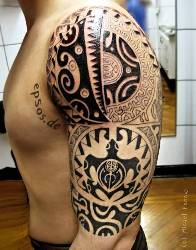 Mind Blowing Polynesian Maori Tattoos On Half Sleeve