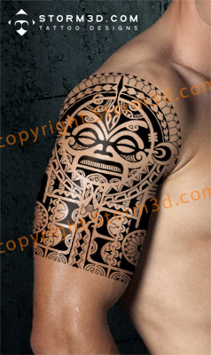 Fresh Polynesian Tattoo On Half Sleeve