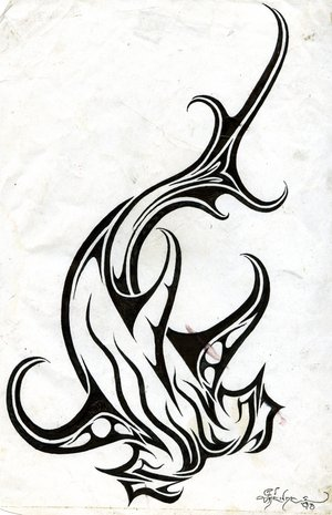 Fresh Shark Tribal Tattoo Design