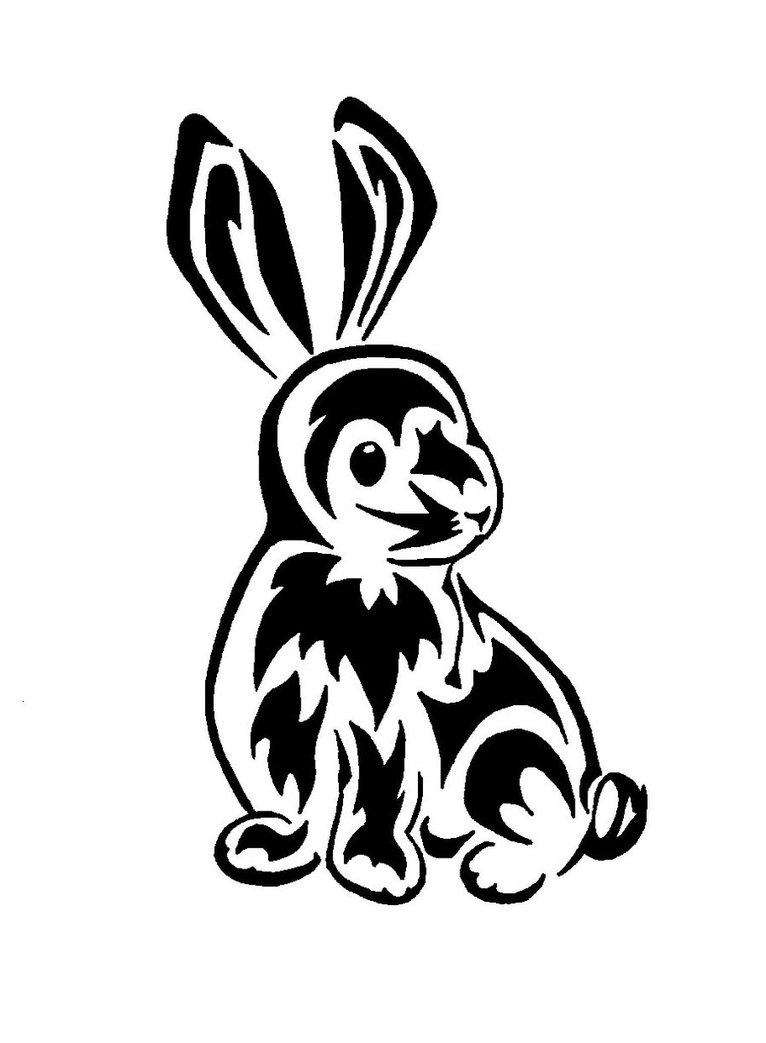 Fresh Tribal Rabbit Tattoo Design