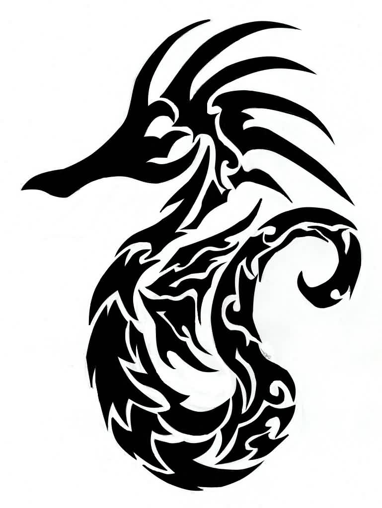 Fresh Tribal Seahorse Tattoo Sample