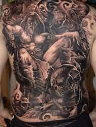 Full Back Dark Warrior And Skull Tattoos