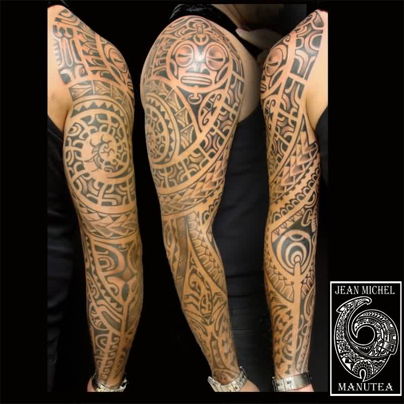 Full Sleeve Of Maori Polynesian Tattoos