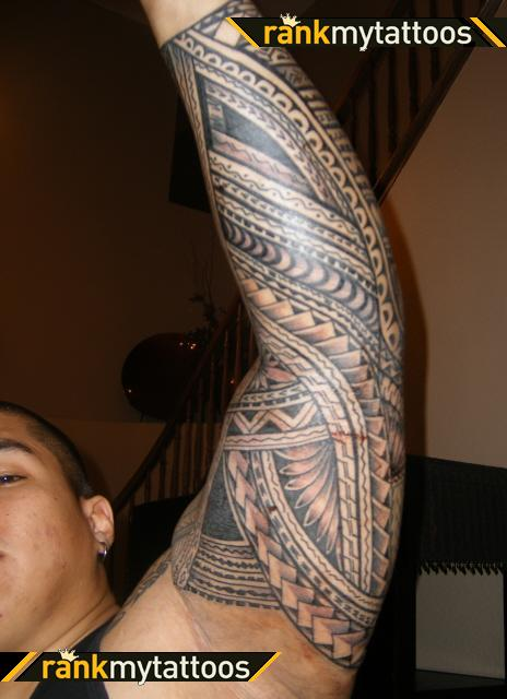 Full Sleeve Samoan Polynesian Tattoo Style For Guys