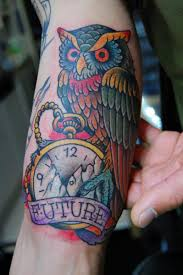 Future Owl And Watch Tattoos