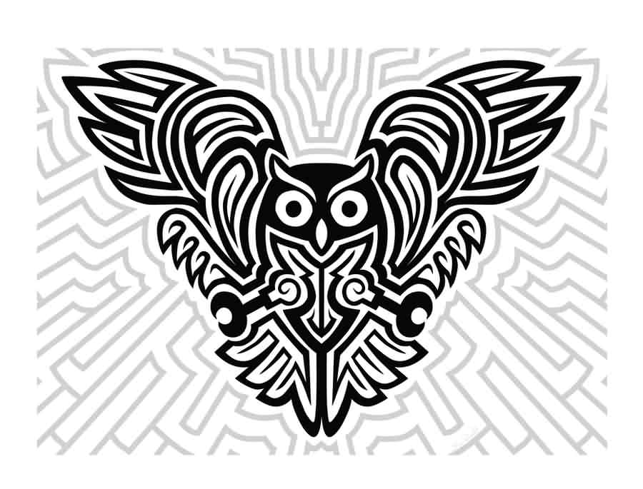 Futuristic Celtic Owl Tattoo Design