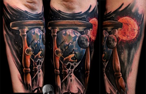Galaxy Sandclock Tattoos