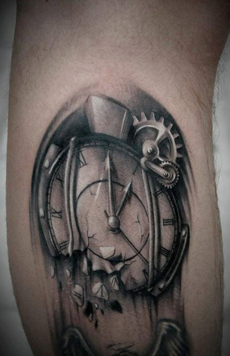 Gears And Broken Clock Tattoos