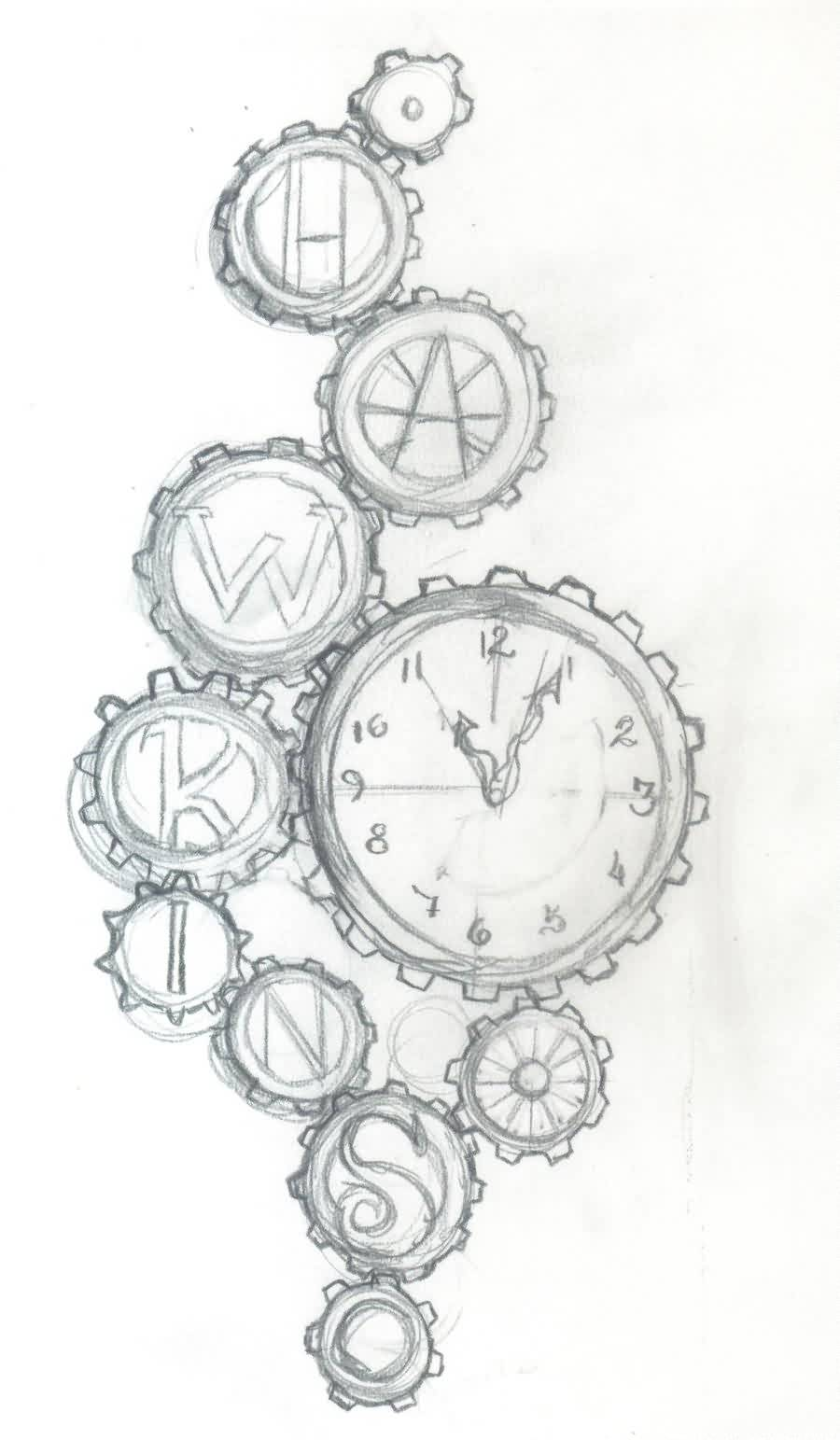 Gears And Clock Tattoos Sketch