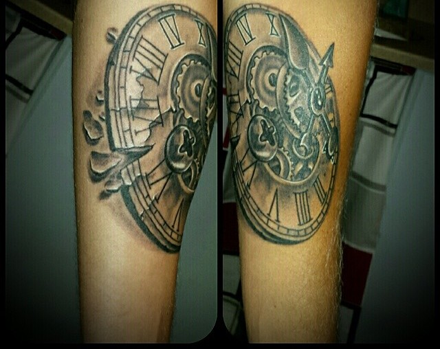 Gears Clock 3D Tattoos